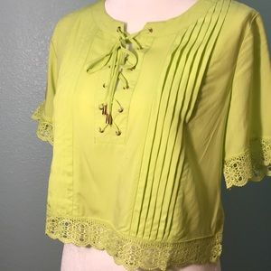 Lime green lace-up crop top, M2 by Mocha Apparel